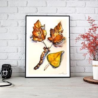 Осенняя иллюстрация Осенняя картина Осень рисунок Иллюстрация акварелью Заказ иллюстрации Художник