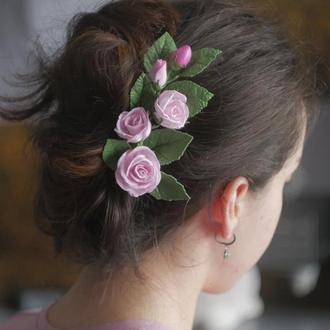 Веточка роз нежного розового цвета, изготовленные из фома (очень легенькая)