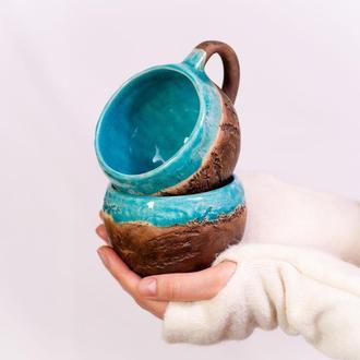 """Горня, чашка """"Flora aqua blue"""""""