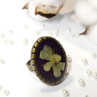 Кольцо на регулируемой основе с натуральными цветами в ювелирной смоле.