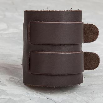 Коричневый широкий стильный кожаный браслет с двумя полосами код 6411