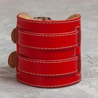 Красный прошитый широкий стильный кожаный браслет с двумя полосами код 6410ст