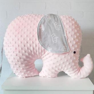 Подушка-игрушка в форме слона, серо-розовая слоник-подушка