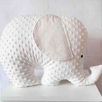 Подушка-игрушка в форме слона, молочно-бежевая слоник-подушка