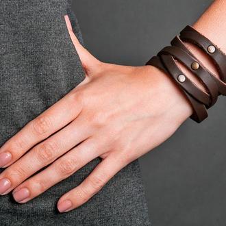 Кожаный браслет - коричневая гармошка код 4620