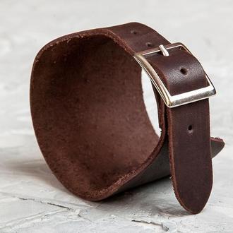 Коричневый сплошной широкий кожаный браслет код 6310