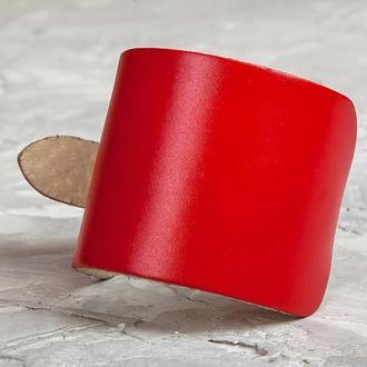 Красный сплошной широкий кожаный браслет код 6310