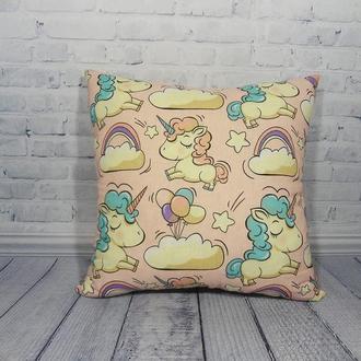 Двухсторонняя декоративная подушка с хлопка и плюша - единороги, подушка единорог, подарок единороги