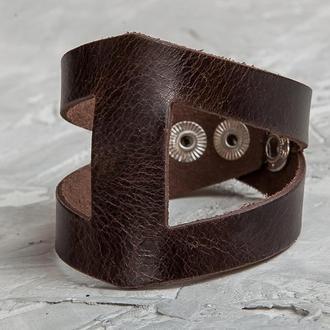 Кожаный браслет - коричневый треугольник код 4660