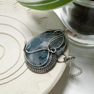 Кулон из серебра Подарок на 8 марта Сердце из камня