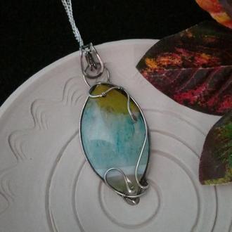 Женский кулон из серебра Желто-голубой камень Серебряный кулон с цепочкой Агат и кварц