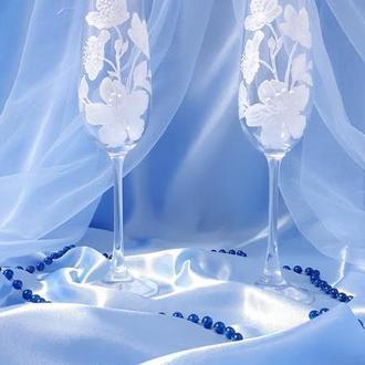 Свадебные бокалы Белый букет