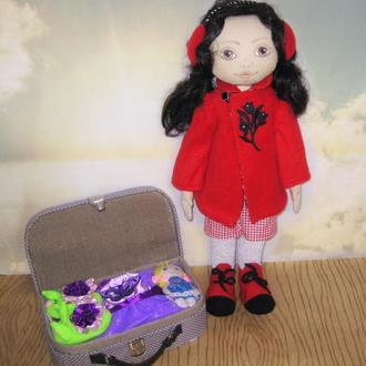 Текстильная кукла Марийка, большая игровая кукла для девочки, кукла с набором одежды и обуви