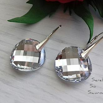 Серебряные серьги с кристаллами Сваровски Зеркала