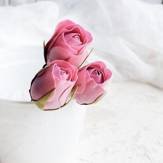 Шпильки с бутонами роз, Свадебные шпильки для волос с цветами, Розовая заколка
