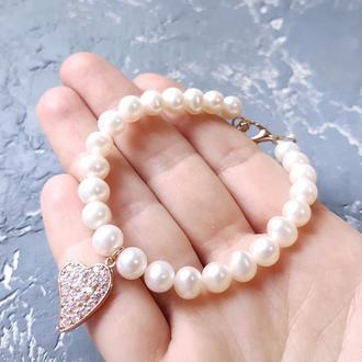 Браслет з натуральних перлів з позолоченою підвіскою подарок жене подруге 8 марта жемчужный браслет