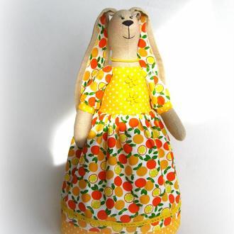 Зайка Апельсинка, в стиле Тильда.