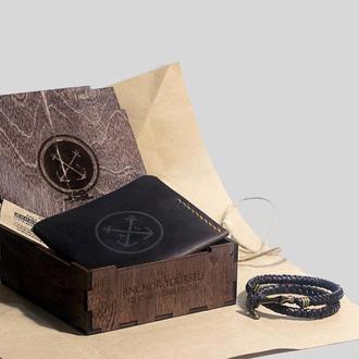 Подарочный набор для мужчины: кожаный мужской кошелёк + кожаный плетёный браслет