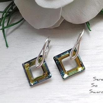 Серебряные серьги с кристаллами Сваровски Квадраты