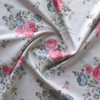 Ранфорс Белый с розами (Ranfors White with roses) 110819