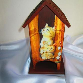 """Чайный домик (домик для чайных пакетиков) """"Котята-непоседы"""" – оригинальный подарок и декор кухни"""