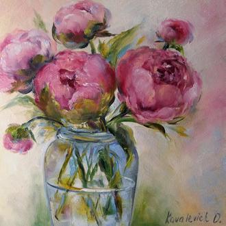 Картина маслом 20×20 см. живопись Пионы