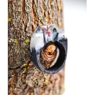 'АЛЬБИОН', кольцо из дерева и эпоксидной смолы, чёрные колечко с туманом для женщин и мужчин