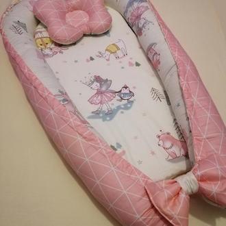 Кокон-гнездышко из сатина, позиционер, babynest, кокон для новорожденных, гніздечко