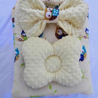 Плюшевый плед, конверт на выписку, одеяло для новорожденного, плюш minky