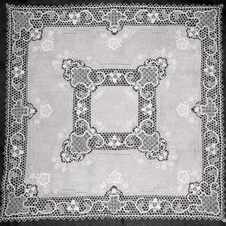 Скатерть, салфетка, венецианское кружево, вышивка ажур, 82х84
