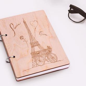 """Блокнот в деревянной обложке """"Paris"""""""