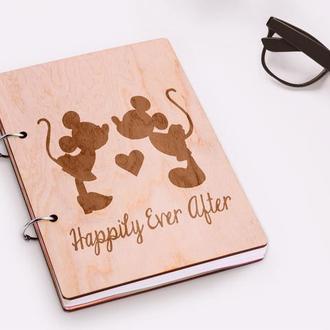"""Блокнот в деревянной обложке """"Happily Ever After"""""""
