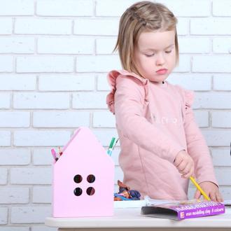Деревянная подставка-домик для канцелярии от WoodAsFun, карандашница, хранение ручек/карандашей