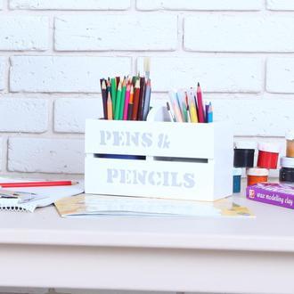 Деревянная подставка под ручки/карандаши от WoodAsFun, белая, карандашница, органайзер