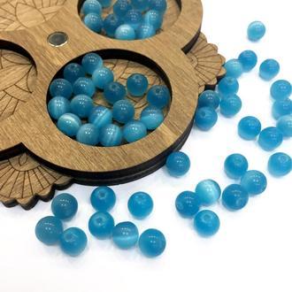 """Круглые бусины, натуральный камень """"кошачий глаз"""", голубые, 6 мм   № 00665"""