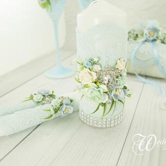 Свадебные свечи / Венчальные свечи / Свечи голубые / Голубые свечи для свадьбы / Венчальные свечи