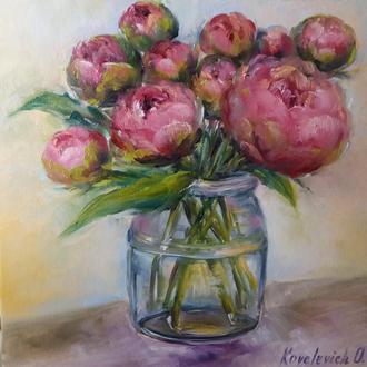 Картина маслом 20×20 см. живопись Бутоны пионов
