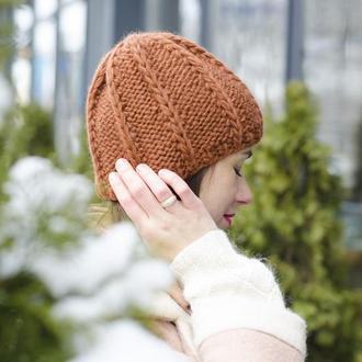 Коричневая вязаная шапка В НАЛИЧИИ. Шапка крупной вязки шерстяная