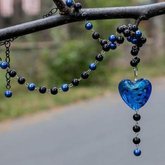Кулон Колье Сапфировое сердце Муранское стекло