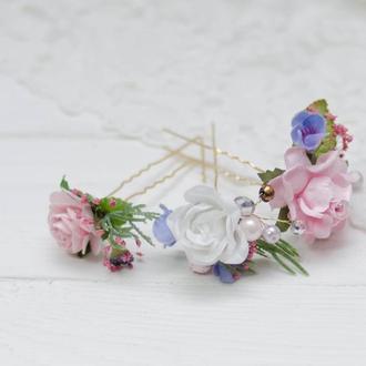Набор из трьох шпилек в волосы нежно розовый с голубым