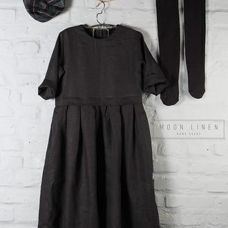 Льняное платье с рукавом 3/4 и перламутровой застежкой (пуговицы)