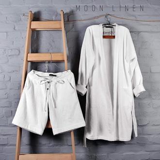 Махровый халат с льняной отделкой