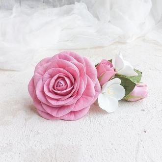 Заколка для волос с розами и яблоневым цветом, Весенний свадебный гребень с цветами