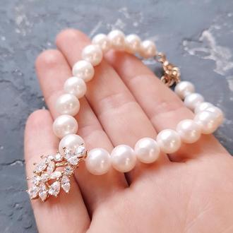 Браслет из натурального жемчуга с позолоченной подвеской браслет из жемчуга с кристаллами подарок жене