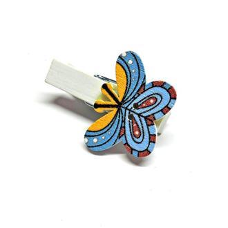 Прищепка декоративная Бабочка узорная синяя