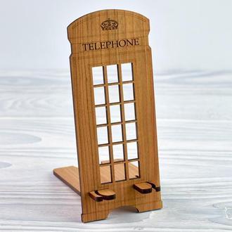 """Подставка под мобильный телефон из  натурального дерева  """"Телефонная будка"""""""