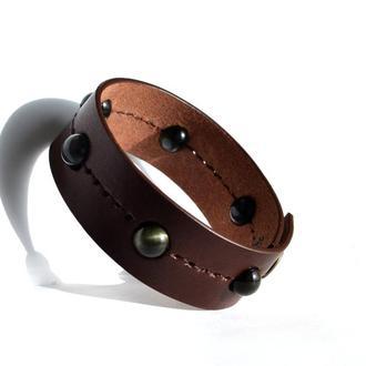 Браслет из кожи и камней. Коричневый кожаный браслет. Кожаный браслет для мужчины, для женщины