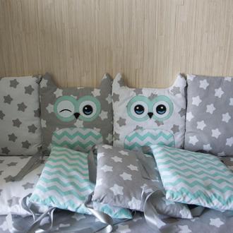 Детское постельное белье, бортики зверюшки в кроватку