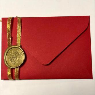 Плотный крафт конверт красный С6