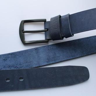 Мужской кожаный ремень темно-синий